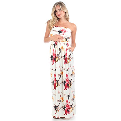 Women's Strapless Ruched Maxi Tube Maternity Dress with Pockets