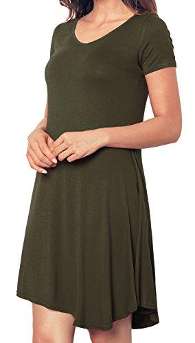 Newbely T shirt Dress Short Sleeve Tunic Casual Loose