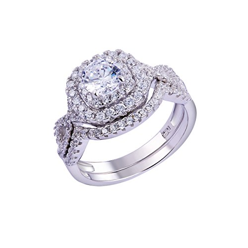 Newshe 1.8Ct Round White Cz 925 Sterling Silver Wedding