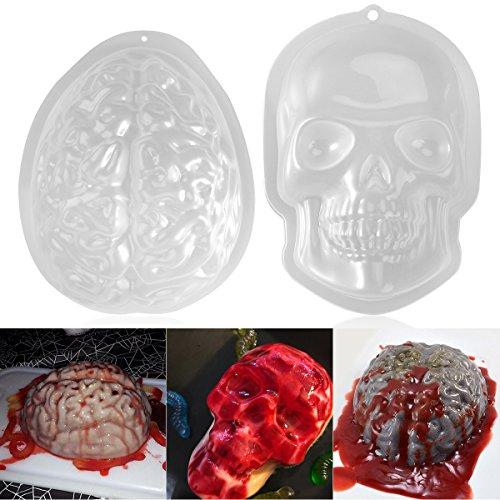 PBPBOX 2 Pack Halloween Brain Gelatin Mold Plastic Zombie