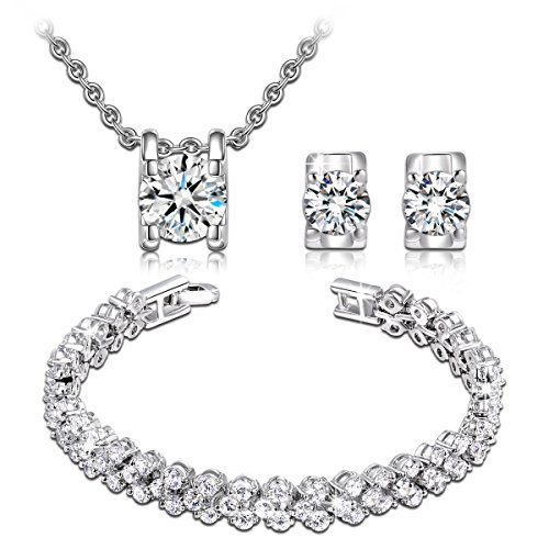 QIANSE Snow Queen Necklace Stud Earrings Link Bracelet Fashion