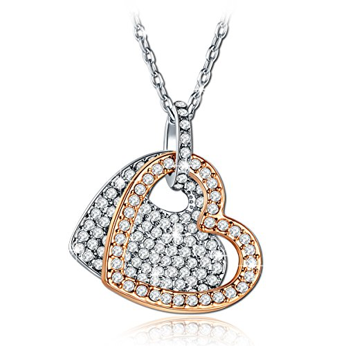 QIANSE Rose Gold Plated Heart Pendant Necklace Swarovski Crystals