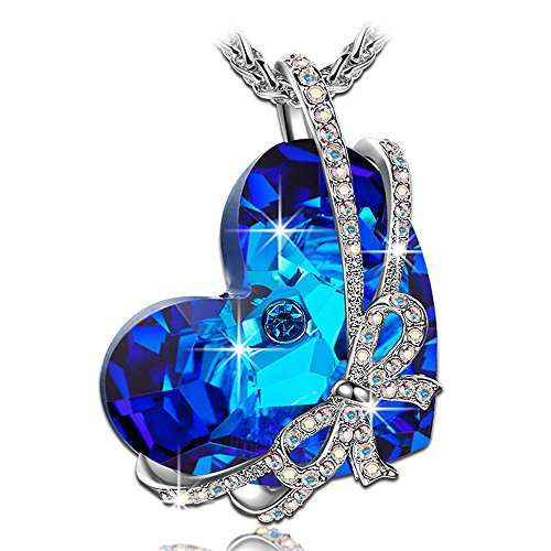 Qianse Women White Gold Plated with Crystal Heart of