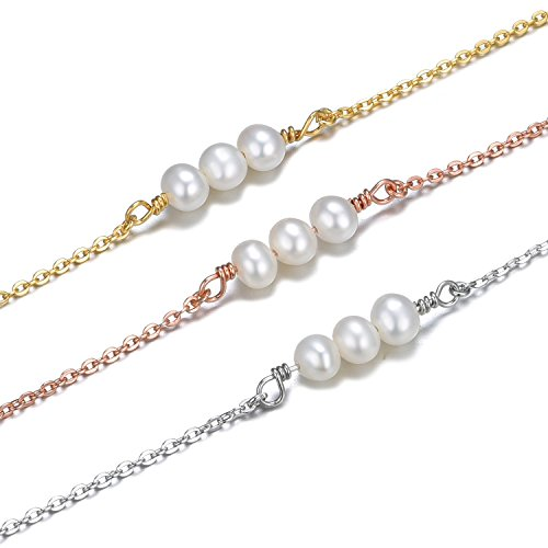 Silver Chain Choker Pearl Necklace-925 Sterling Silver Freshwater Pearl