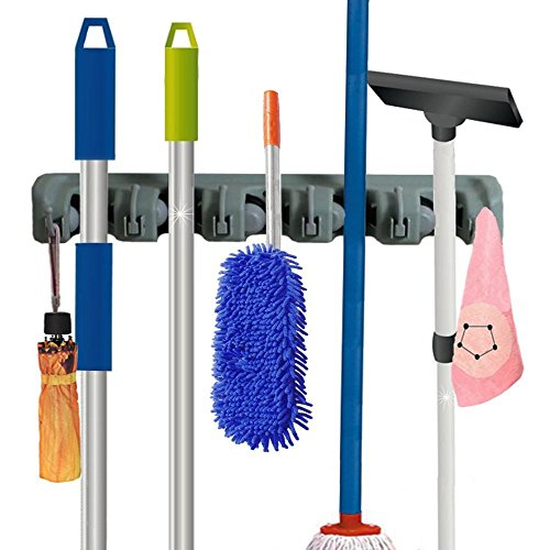 RockBirds Mop and Broom Holder Wall Mounted, 5 Position
