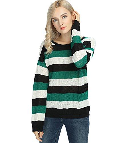 Women's Stripe Sweater Pullover Long Sleeve Crew Neck Green