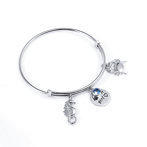 S925 Sterling Silver Seahorse And Crab Beach Girl Adjustable