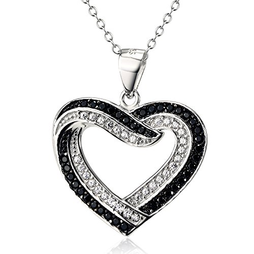 Two Tone 925 Sterling Silver Infinite Love Heart Pendant