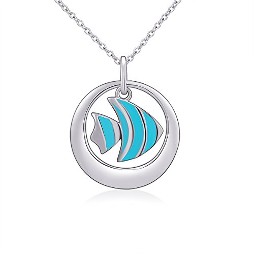 Sterling Silver Jewelry Pendant For Women Tropical Fish Necklace