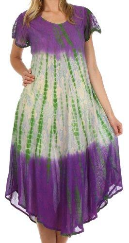 Sakkas 20831 Mika Ombre Floral Caftan Dress - Purple