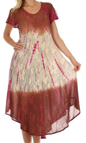 Sakkas 20831 Mika Ombre Floral Caftan Dress - Brown