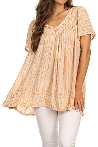 Sakkas 15780 - Elaine Embroidered Batik Scoop Neck Relaxed