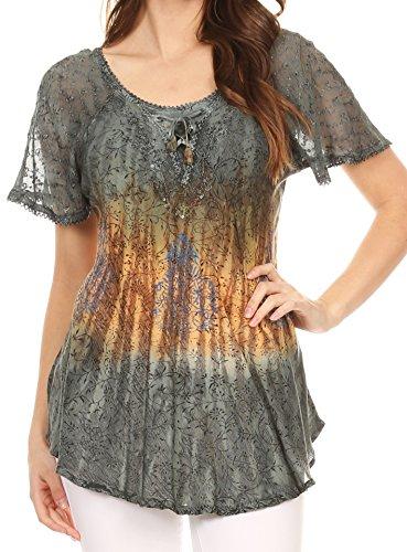 Sakkas 17875 - Nayen Tie-Dye Sheer Cap Sleeve Embellished