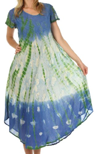 Sakkas 20831 Mika Ombre Floral Caftan Dress - Blue