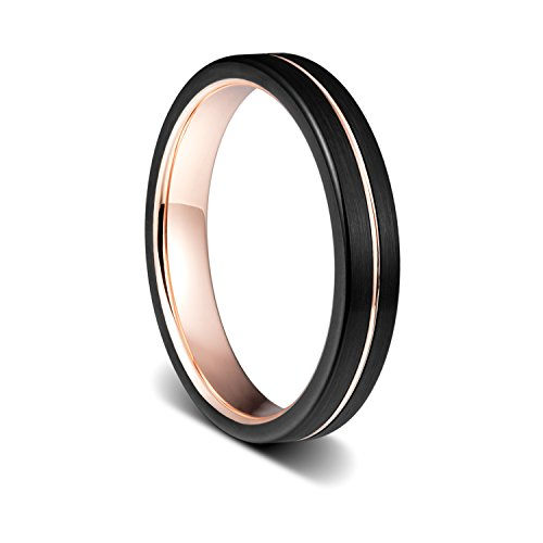 Tusen Jewelry 4mm Black Tungsten Ring Rose Gold Plated