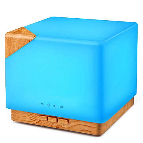 Square Aromatherapy Essential Oil Diffuser Humidifier, 700ml Large Capacity