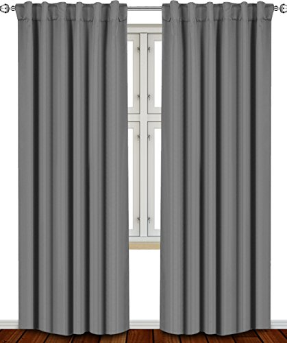 Blackout Room Darkening Curtains Window Panel Drapes Grey -