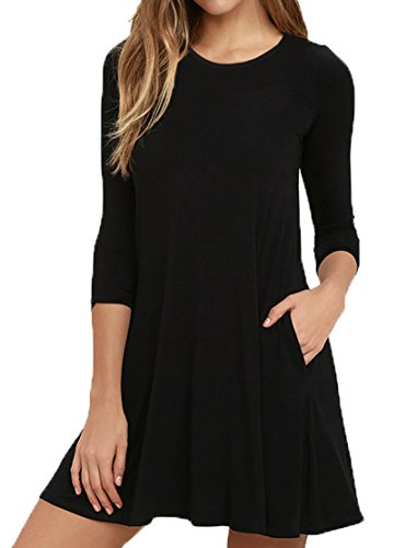 VIISHOW Women's Long Sleeve Casual Loose T-Shirt Dress Black