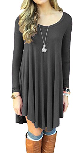 VIISHOW Women's Long Sleeve Casual Loose T-Shirt Dress (XL