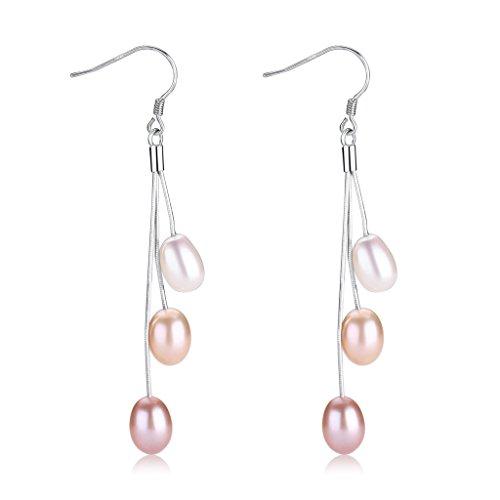 Wiw Pearl Dangle Earrings Long Sterling Silver Drop Earring