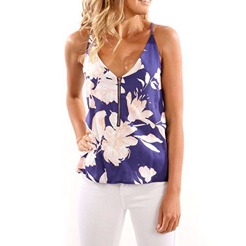 Y-step Women Spaghetti Strap Front Zipper Floral Print Shirt