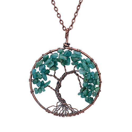 Copper Family Root Tree of life Green Agate Pendant