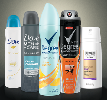 FREE Dove, Degree, or Axe Dry Spray Deodorant Sample